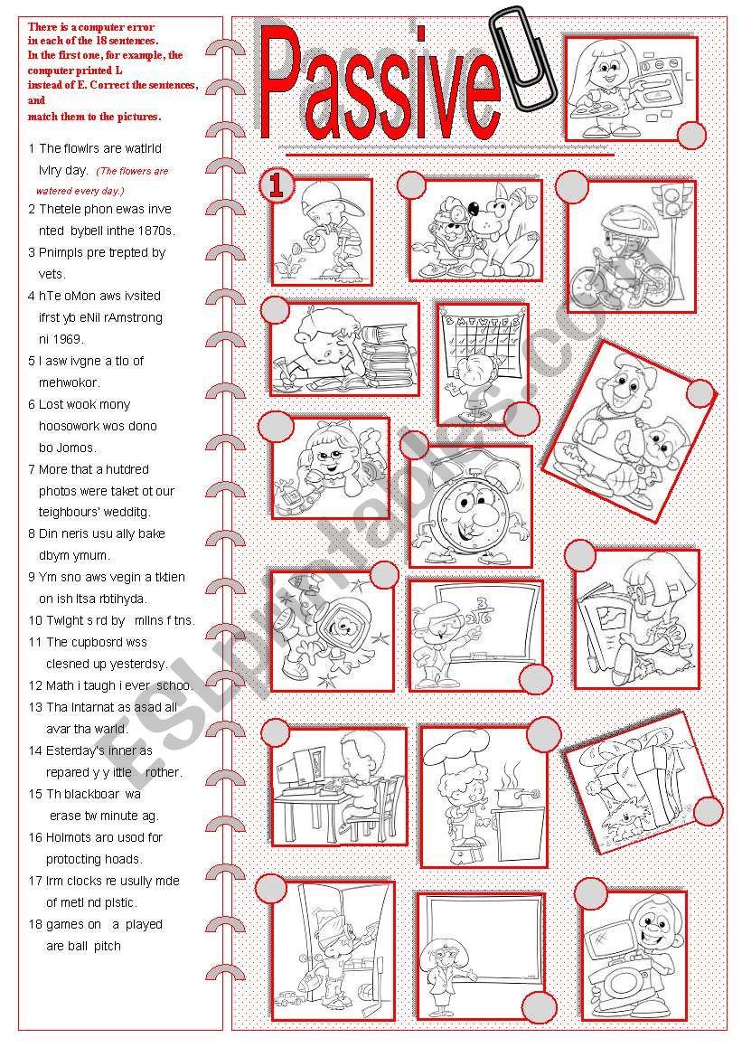 Passive-Pr. and Past Simple worksheet