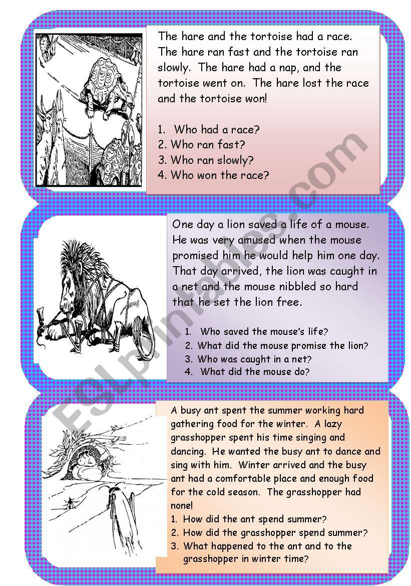 Aesop´s fables mini comprehensions