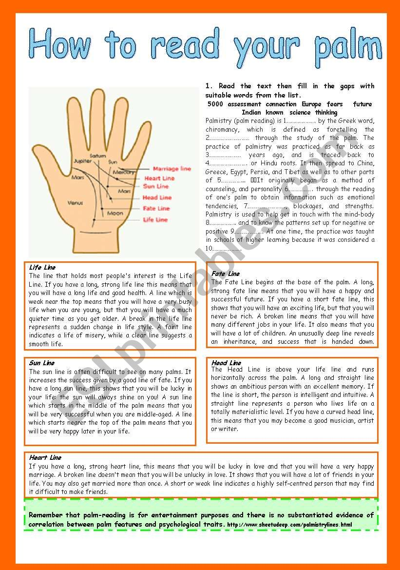 How to read your palm worksheet