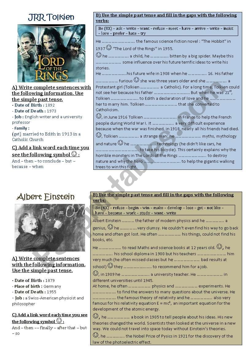 Make a timeline of famous people - biographies/simple past tense, project part 2 of 3 **editable**