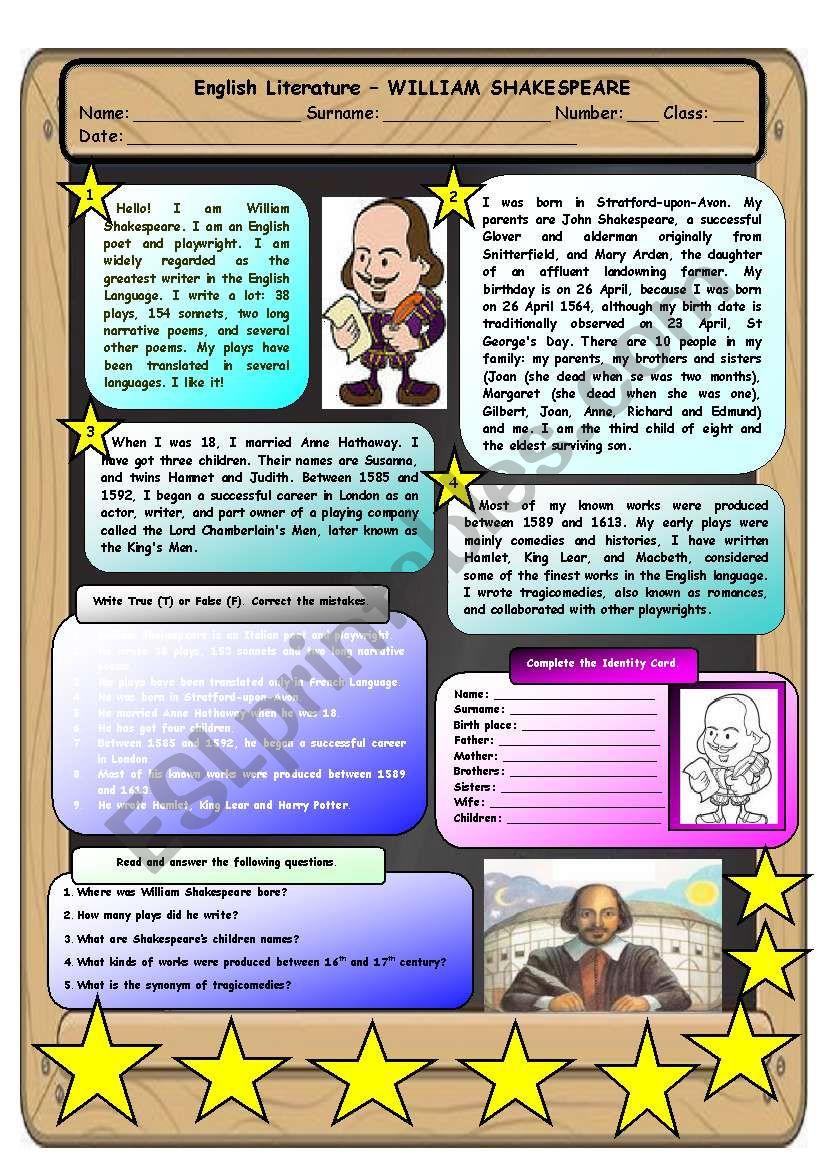 English Literature - William Shakespeare