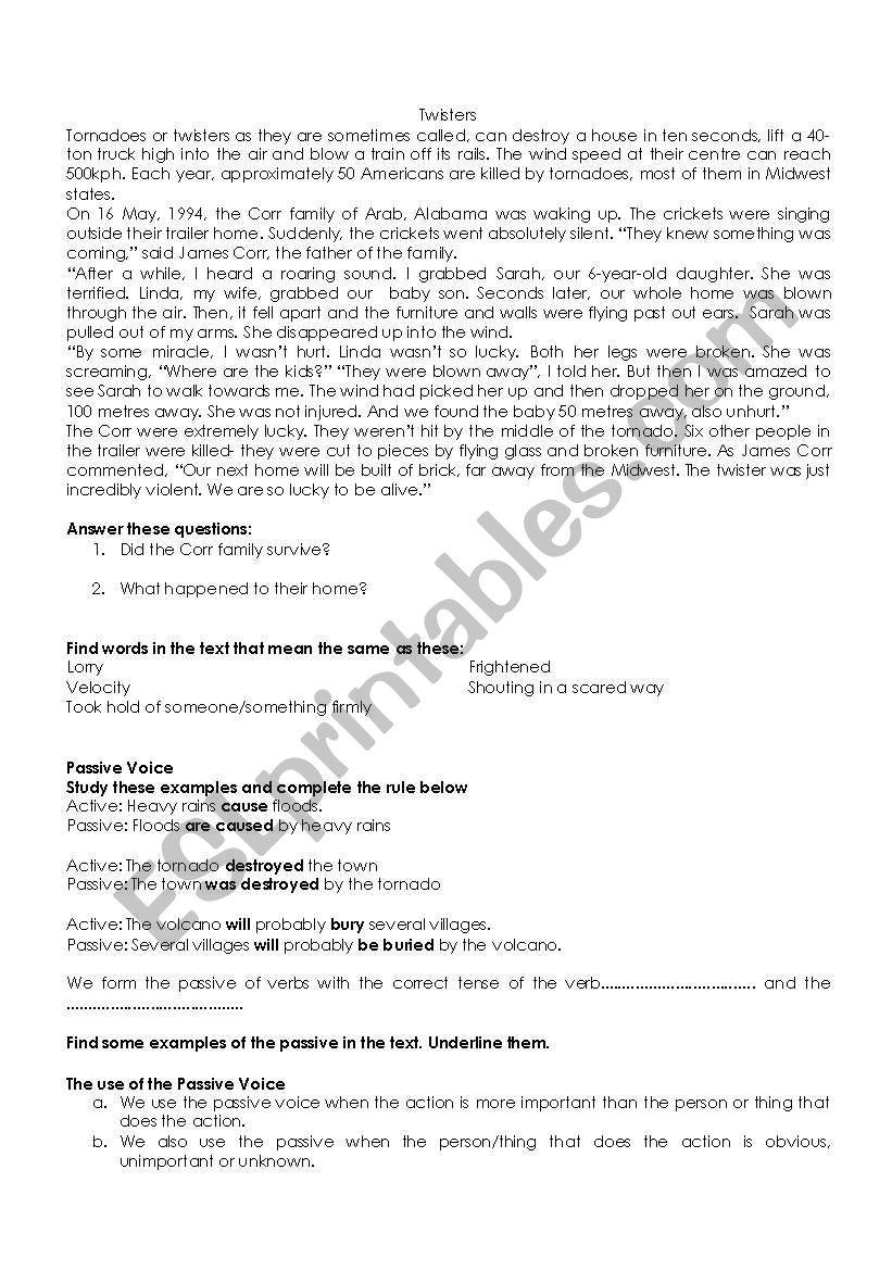 Passive Voice  worksheet