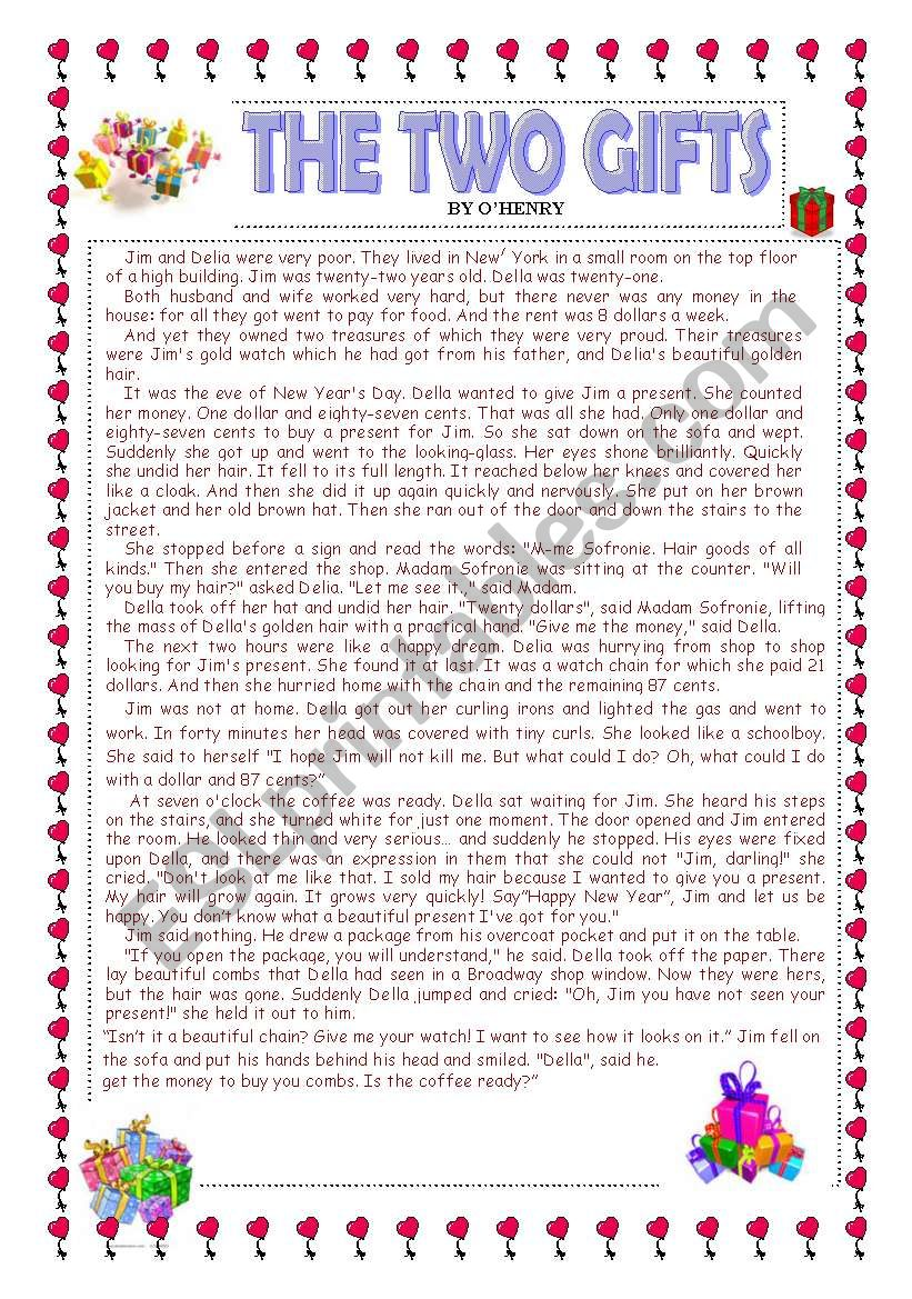 The Two Gifts worksheet