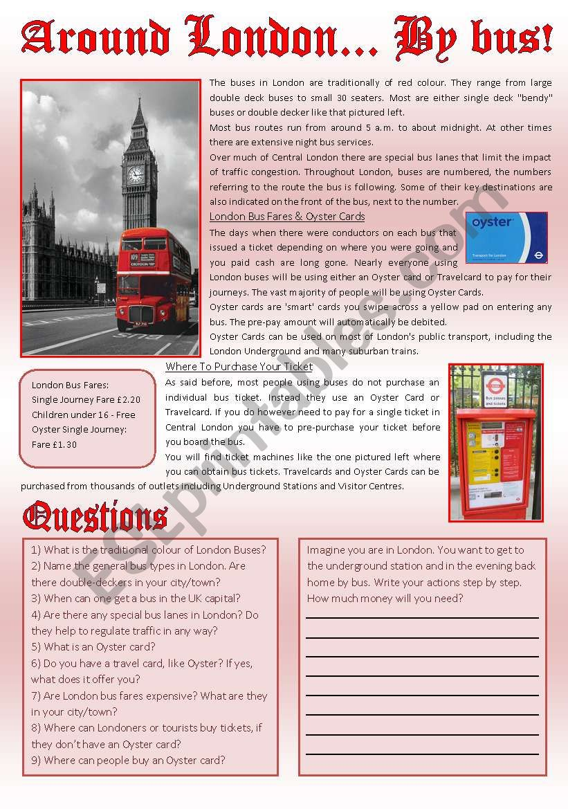 AROUND LONDON... BY BUS! (Reading comprehension+writing)