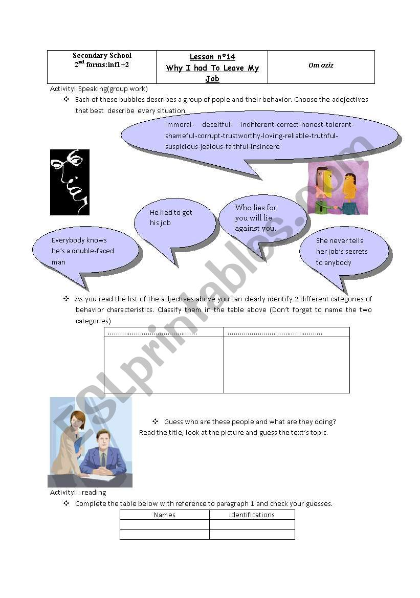 Lesson n°14:Why I had to leave my job. - ESL worksheet by om ... on job bible,