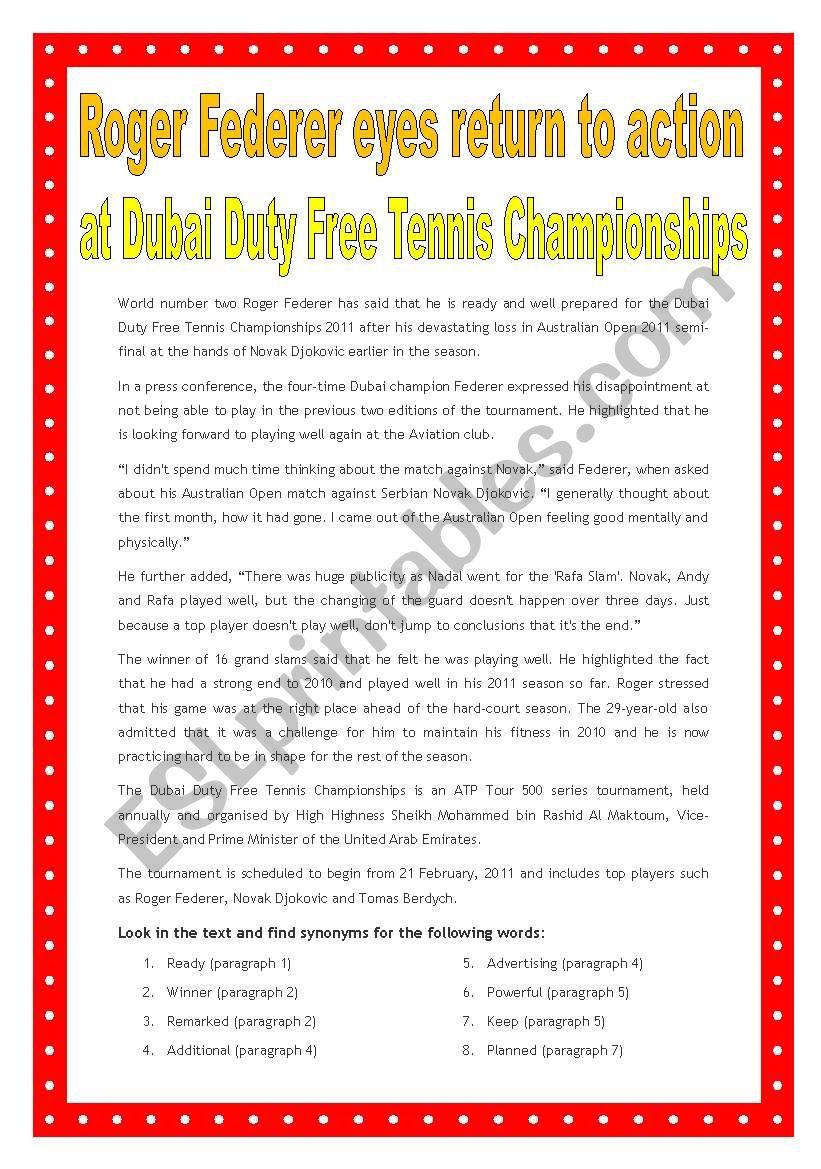 English worksheets: Roger Federer, piece of news (21st Feb 2010)