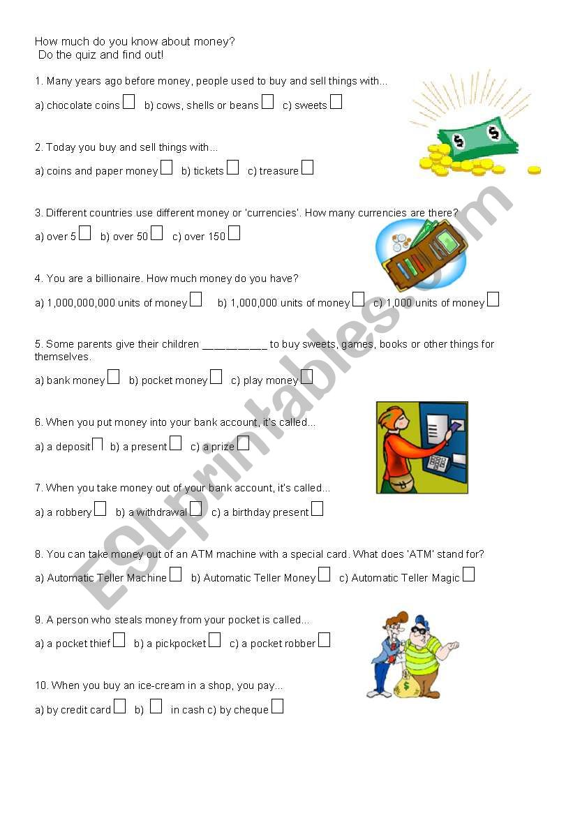 English worksheets: Money Quiz, fun with pictures
