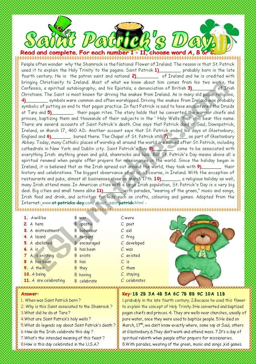 SAINT PATRICK´S DAY. worksheet