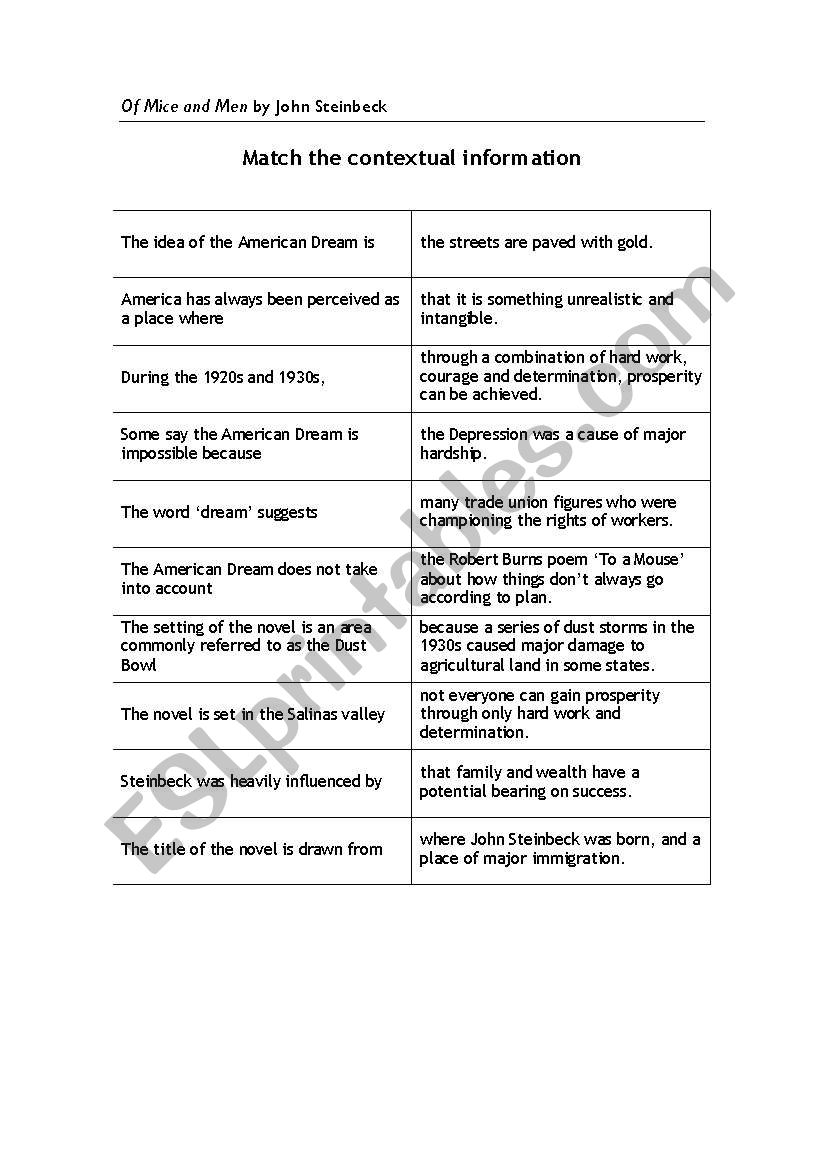 English worksheets Of Mice and Men