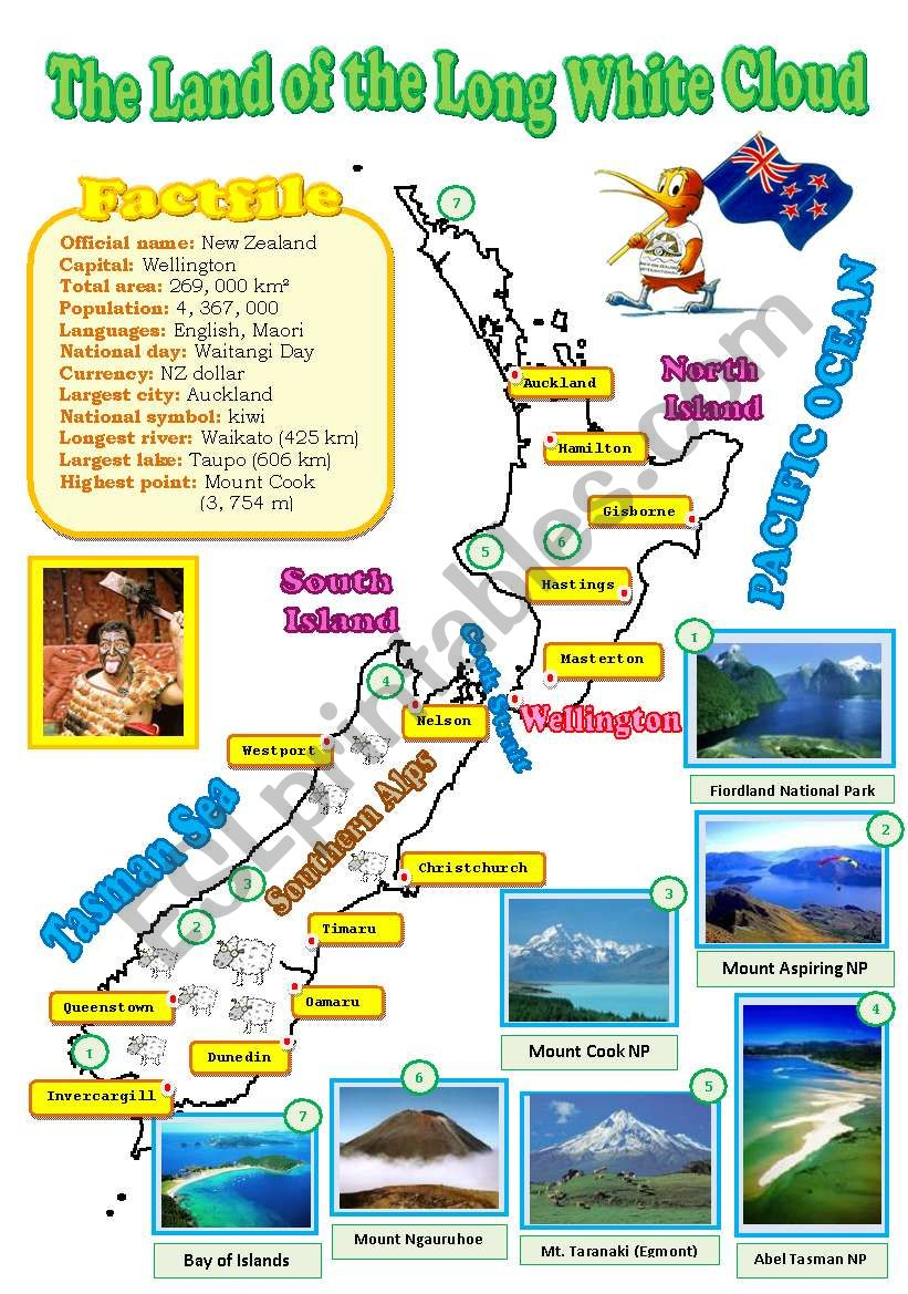 New Zealand map (reuploaded) worksheet