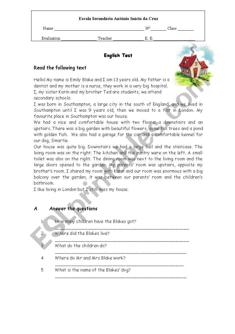 Test about Houses worksheet
