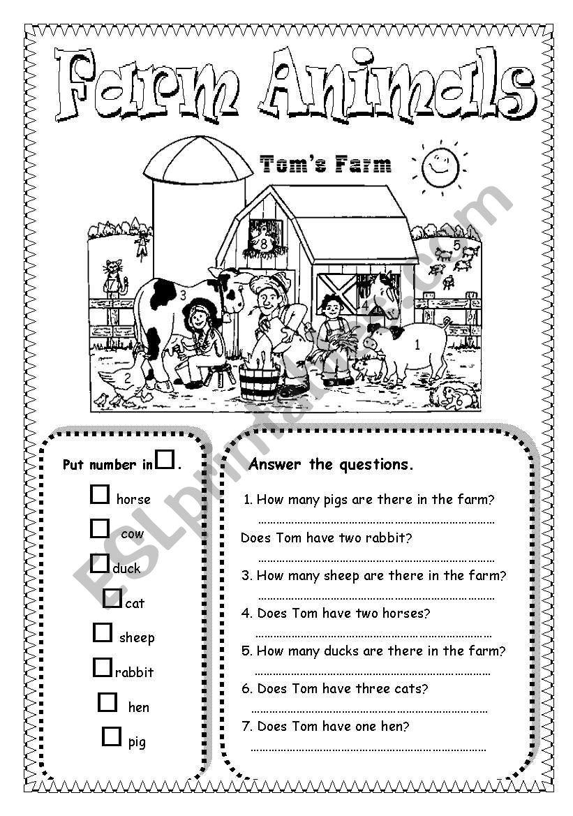 farm animals esl worksheet by saifonduan. Black Bedroom Furniture Sets. Home Design Ideas