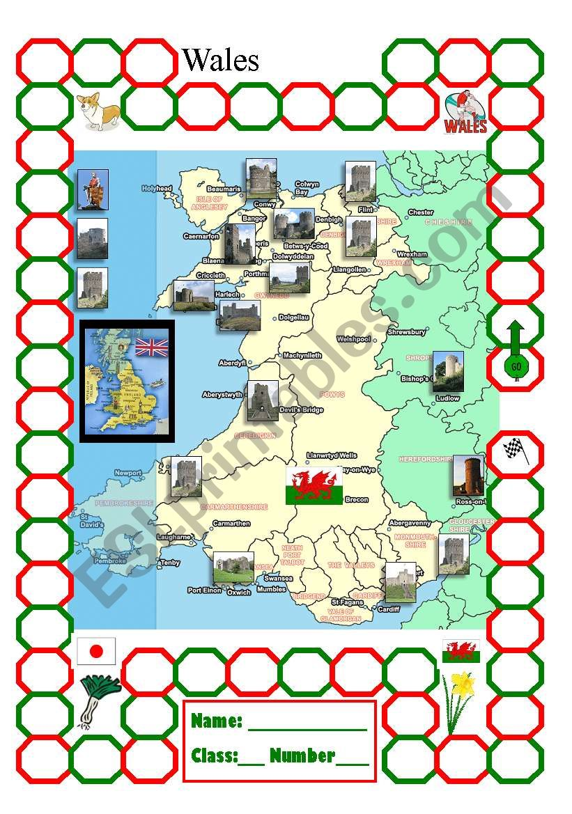 Wales point card worksheet