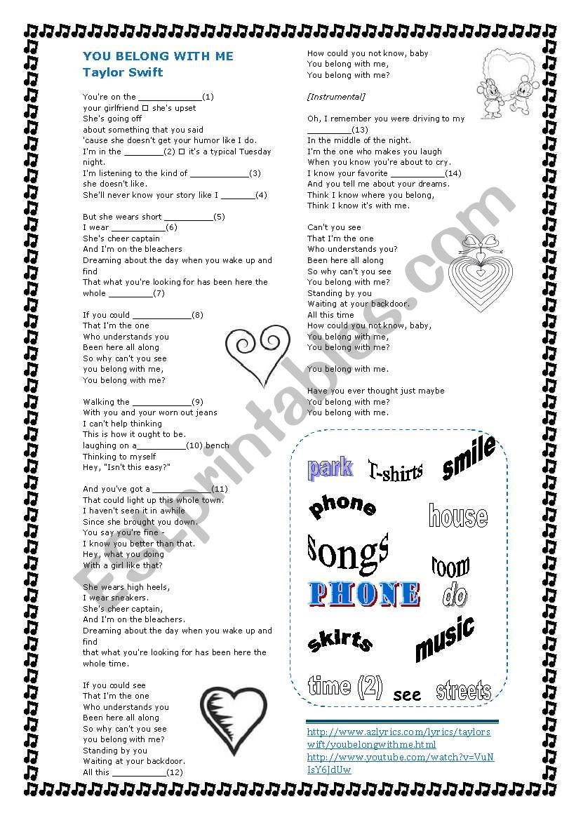 Song Belong with me by Taylor Swift with keys