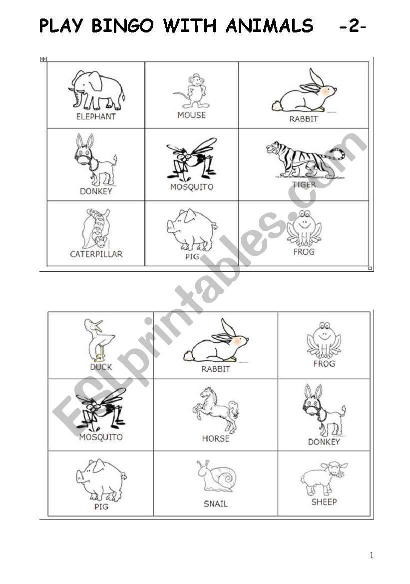 PLAY BINGO WITH ANIMALS part 2