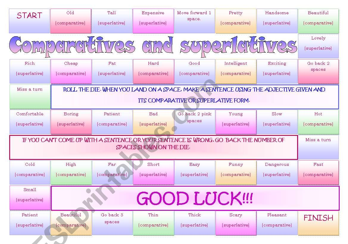 board game  comparative and superlative adjectives