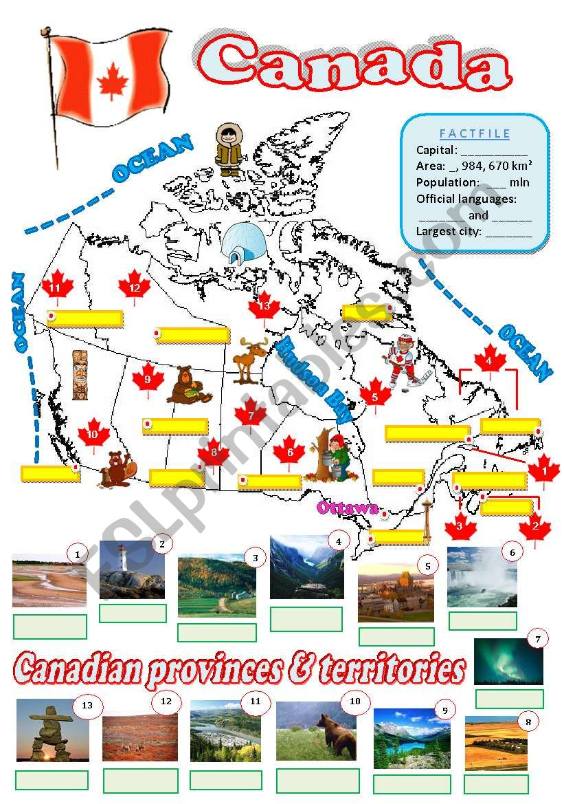 Map Of Canada Worksheet.Map Of Canada 2 Fully Editable Esl Worksheet By Diana561