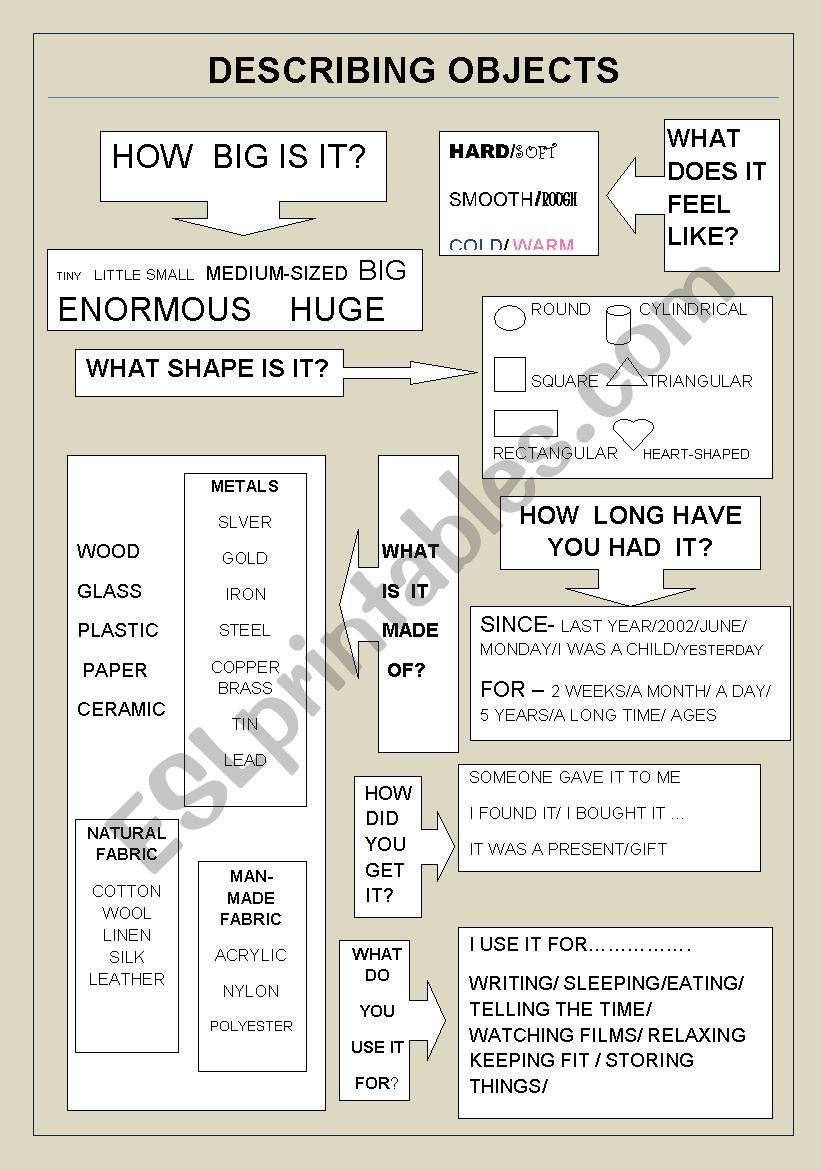 describing objects- PET-FCE worksheet
