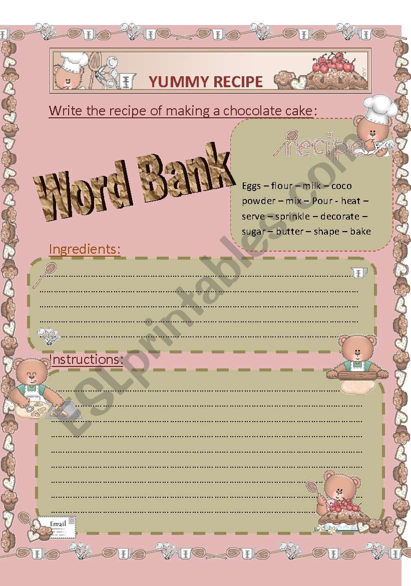 A YUMMY RECIPE worksheet