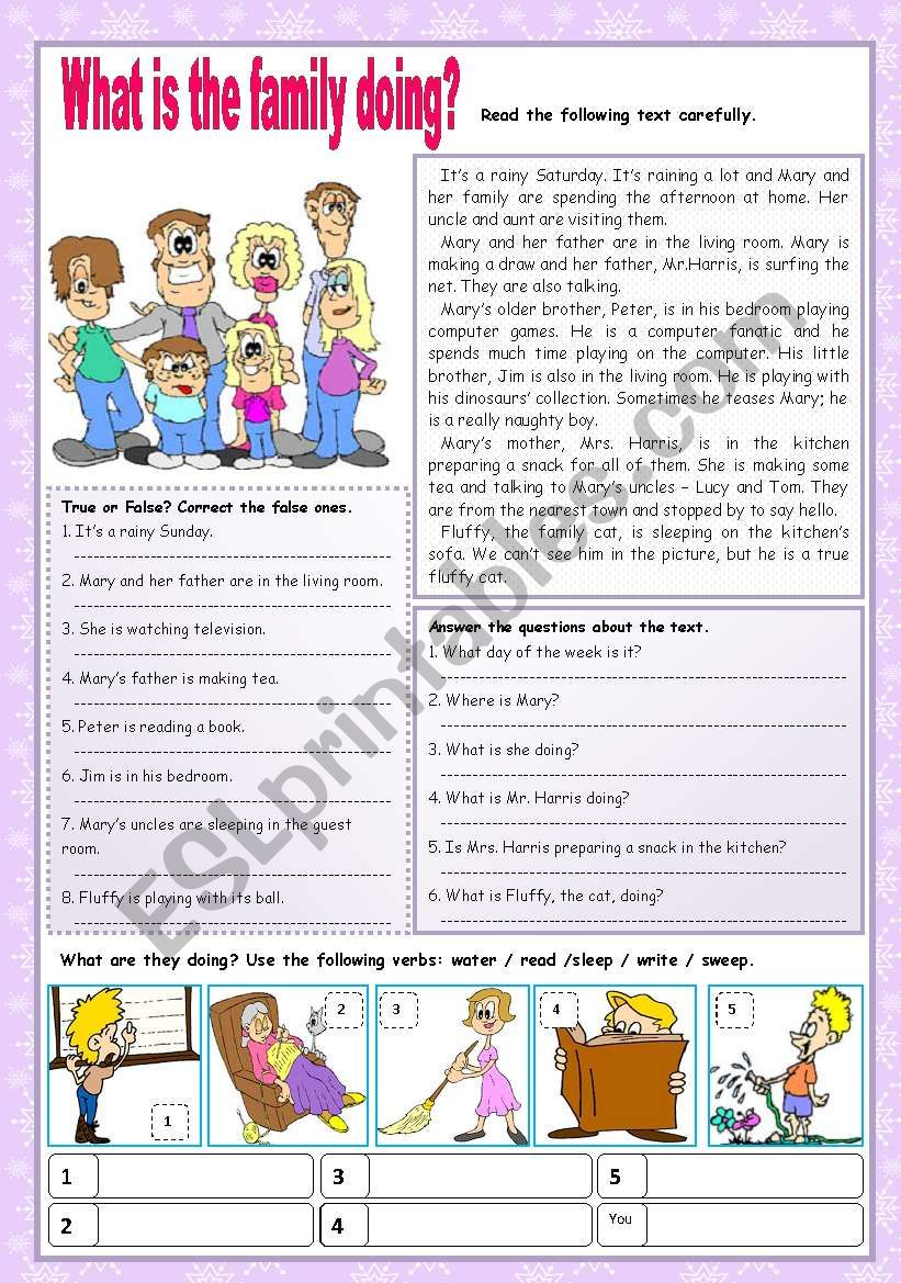What is the family doing? worksheet