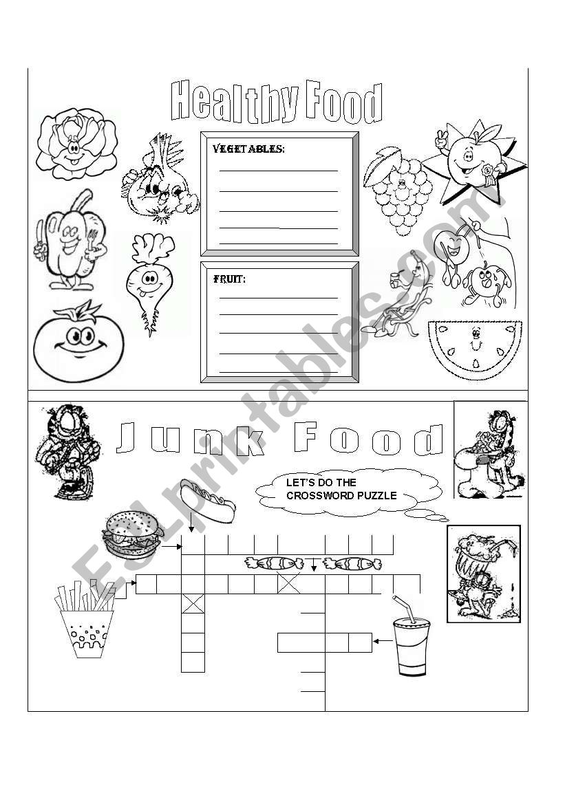 HEALTHY AND JUNK FOOD worksheet