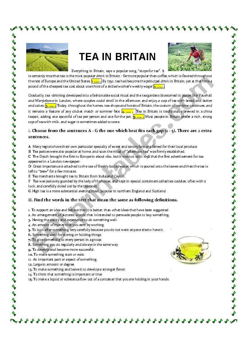 Tea in Britain worksheet