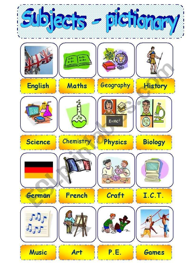 school subjects - Part 1 = pictionary - editable