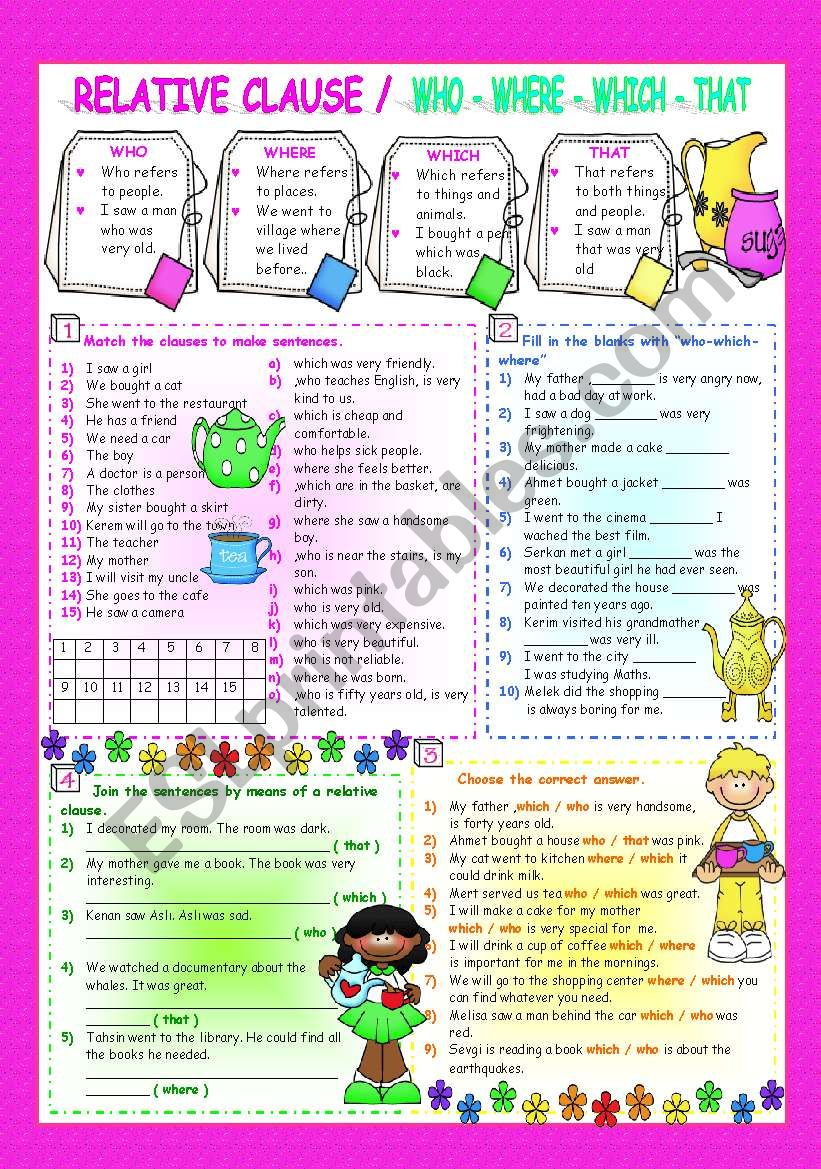 RELATIVE CLAUSES / WHO-WHICH-WHERE-THAT