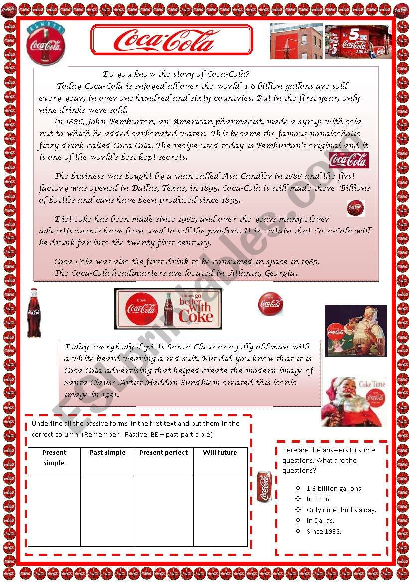 Grammar in context. Coca-Cola and Passive voice