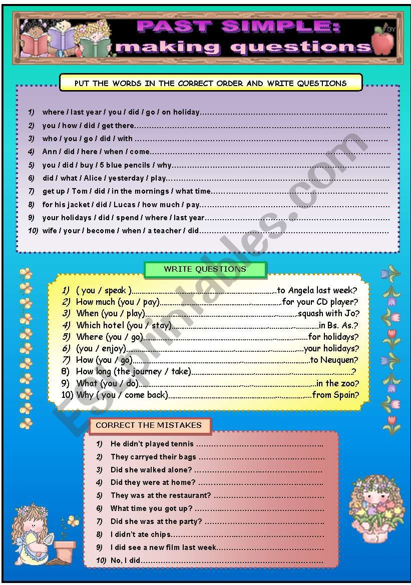 PAST SIMPLE: MAKING QUESTIONS worksheet
