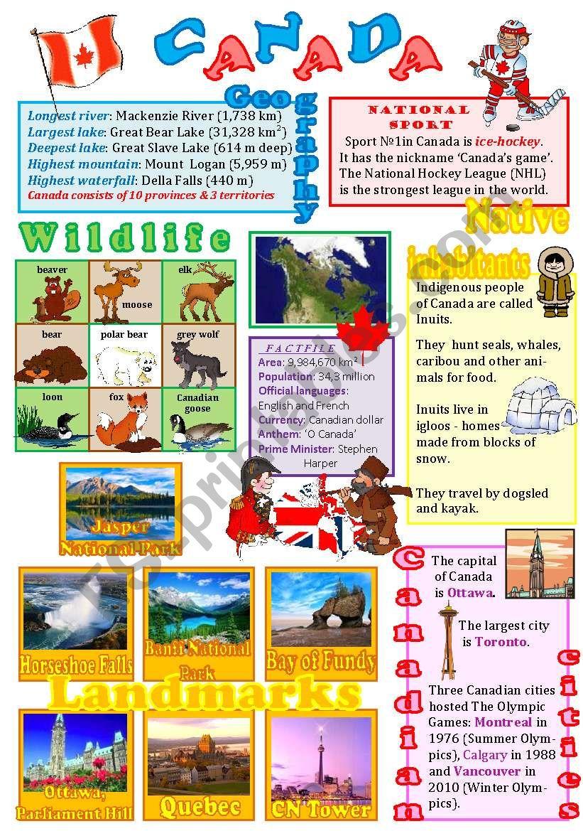 Canada wall poster worksheet