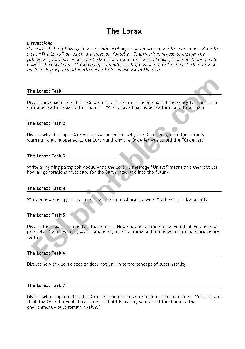 worksheet The Lorax Questions Worksheet english worksheets the lorax questions worksheet