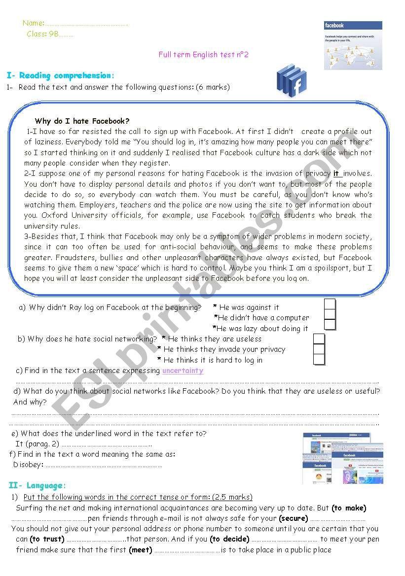 9TH FORM FULL TERM TEST n 2 worksheet
