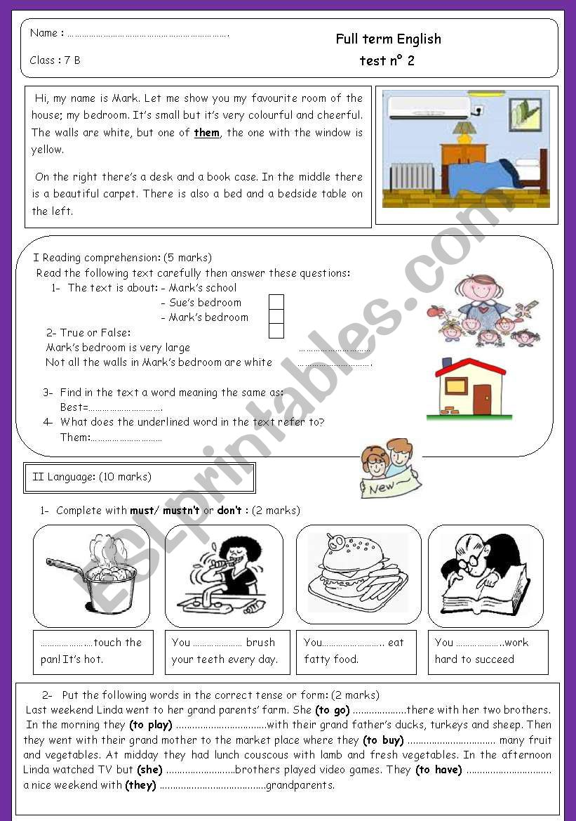 7th form full term test n 2 worksheet