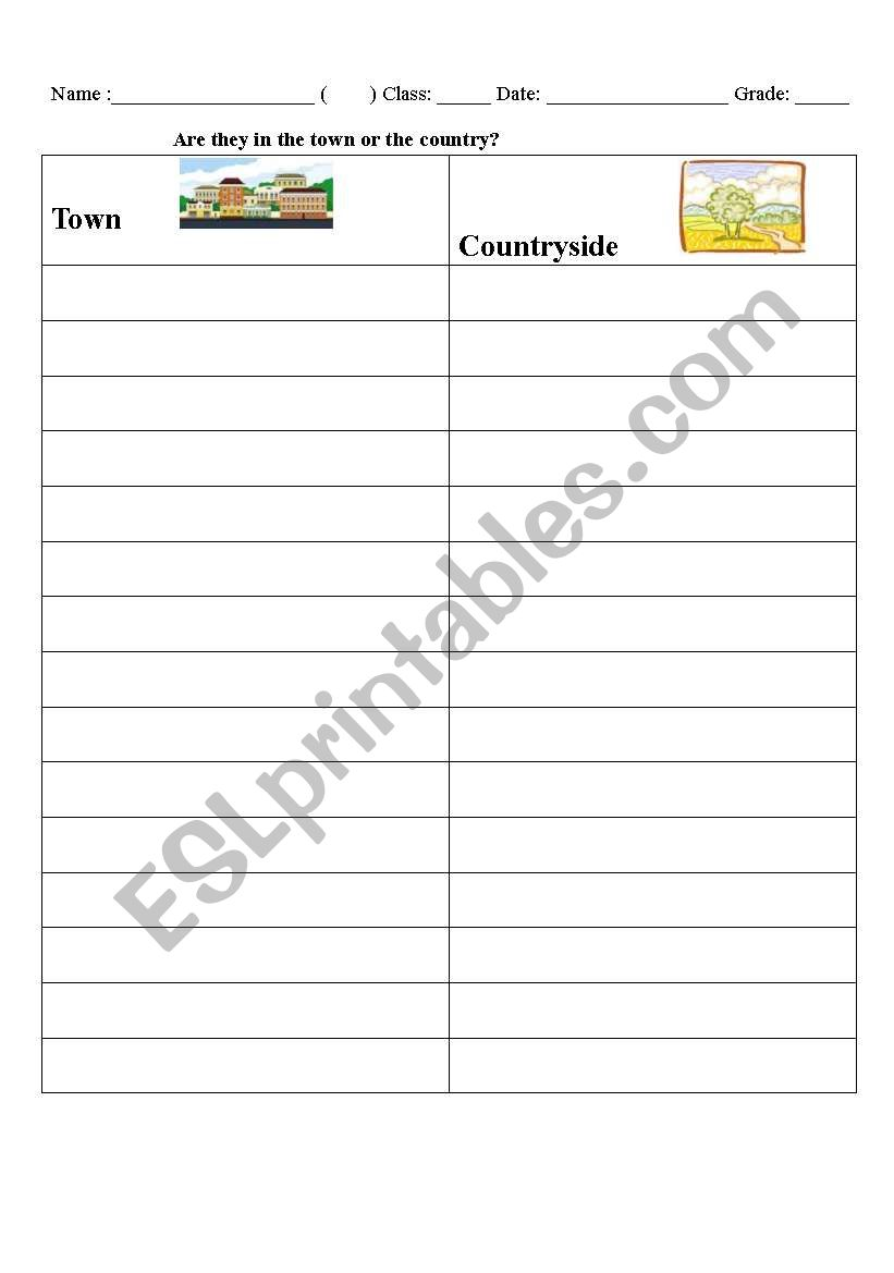 Town or Countryside? worksheet