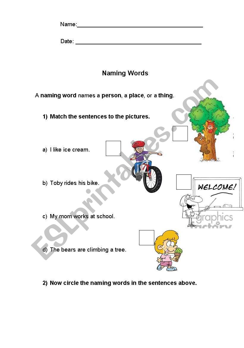 english worksheets  naming words