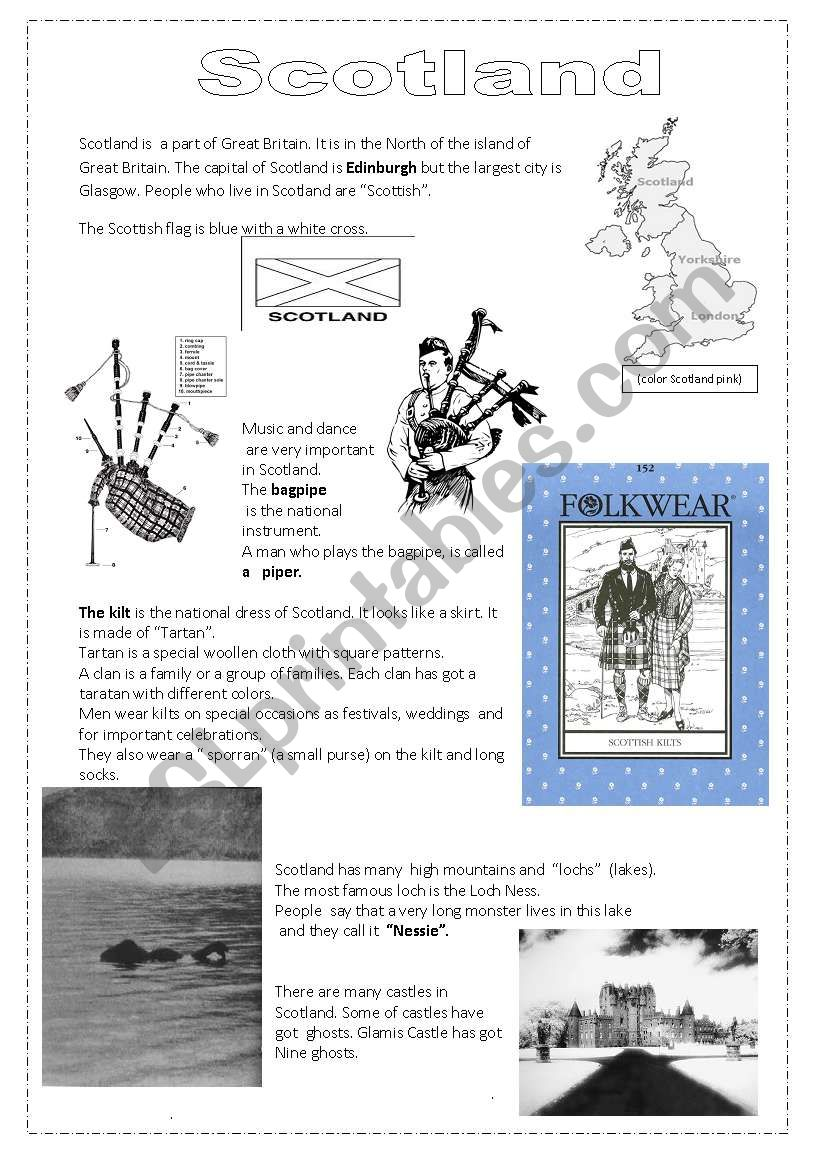 Scotland worksheet