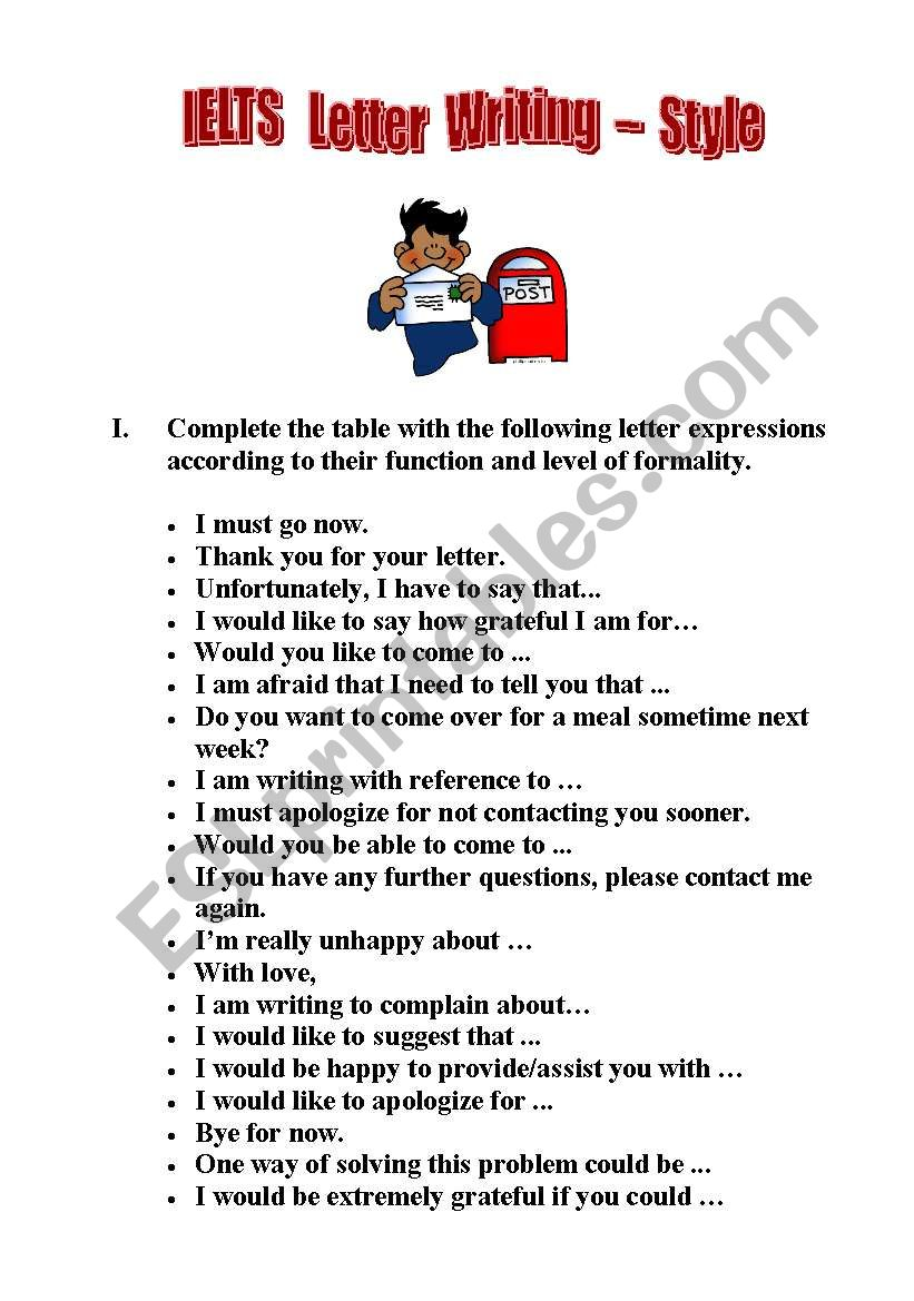 IELTS Letter Writing - Style worksheet