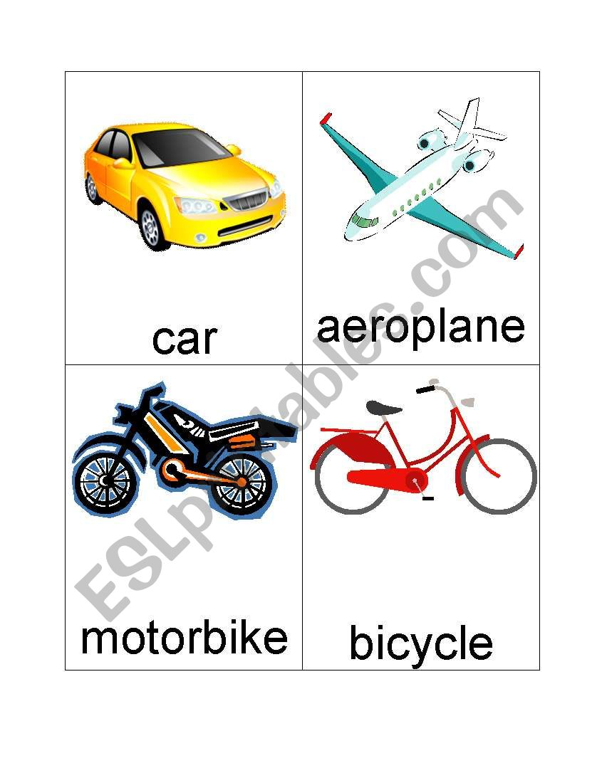 Transport Flash Cards worksheet