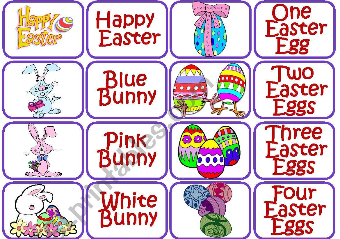Easter memory game worksheet