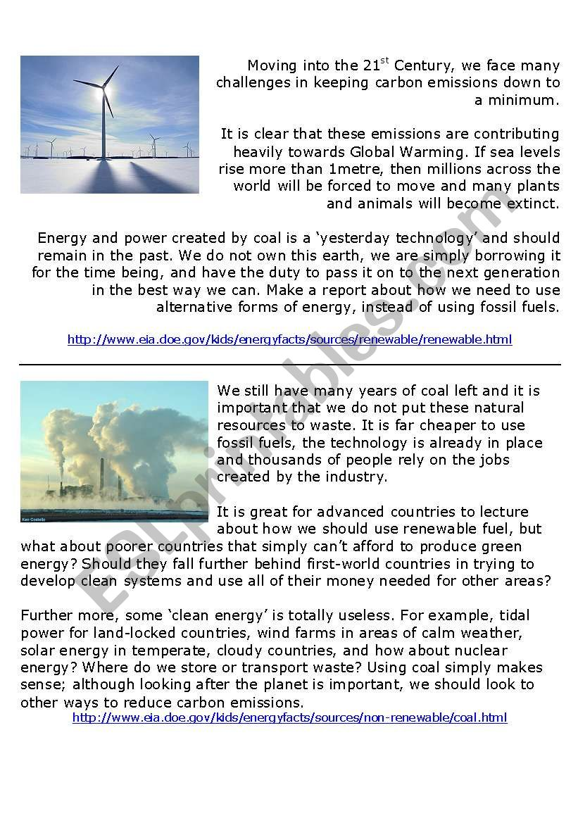 Clean energy vs Fossil fuels - ESL worksheet by stuartallen77