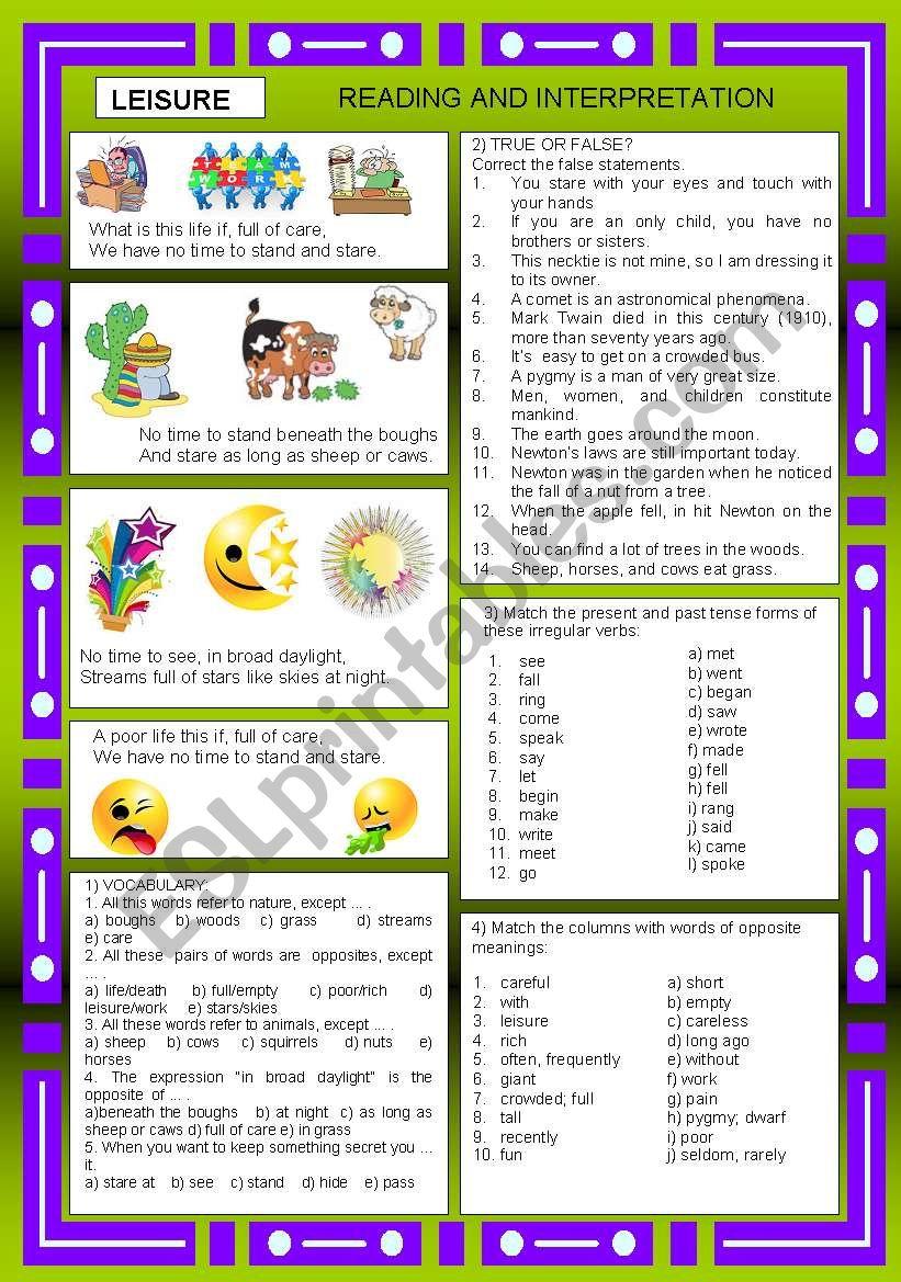 LEISURE + KEY ANSWER - ESL worksheet by Ell@