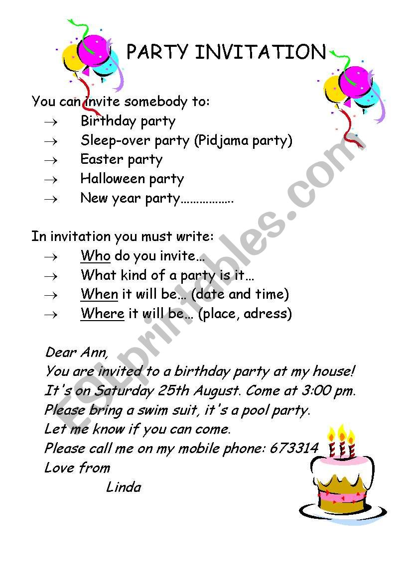 party invitation esl worksheet by tockica. Black Bedroom Furniture Sets. Home Design Ideas