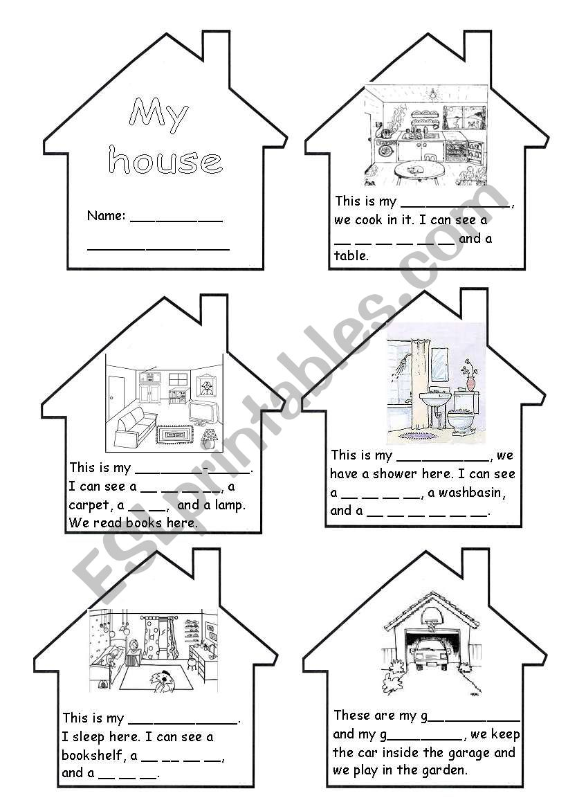 Rooms Worksheet: ROOMS IN THE HOUSE MINI-BOOK