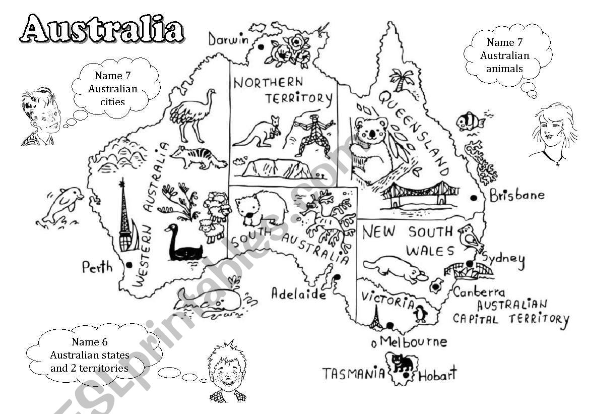 Young Australia Map.Australia A Black And White Map For Young Learners Editable