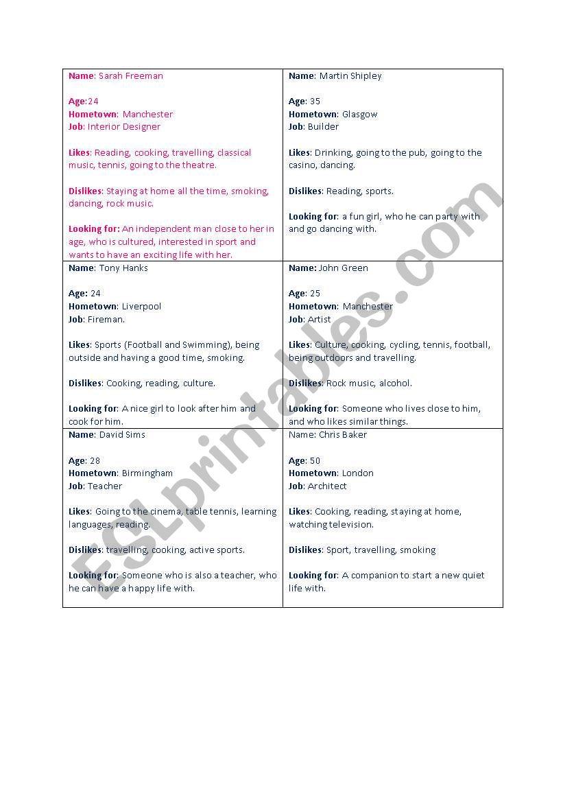Speed Dating Scenario worksheet