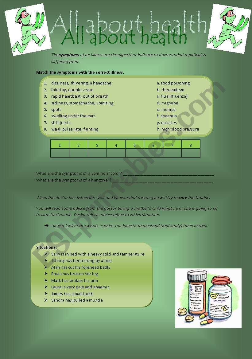 All about health: symptoms and advice - ESL worksheet by