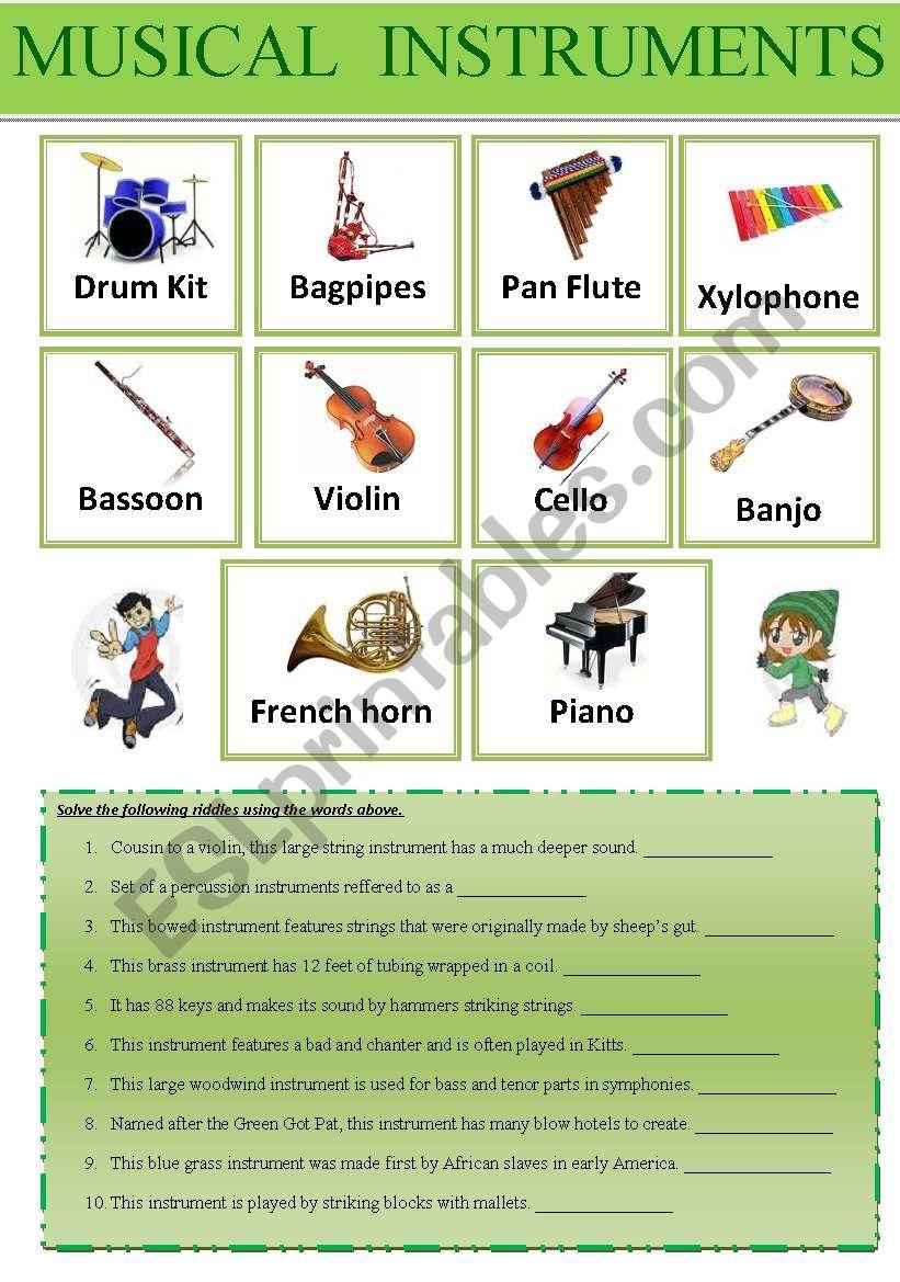 Musical instruments Dictionary + Exercises + Teachers´ Keys