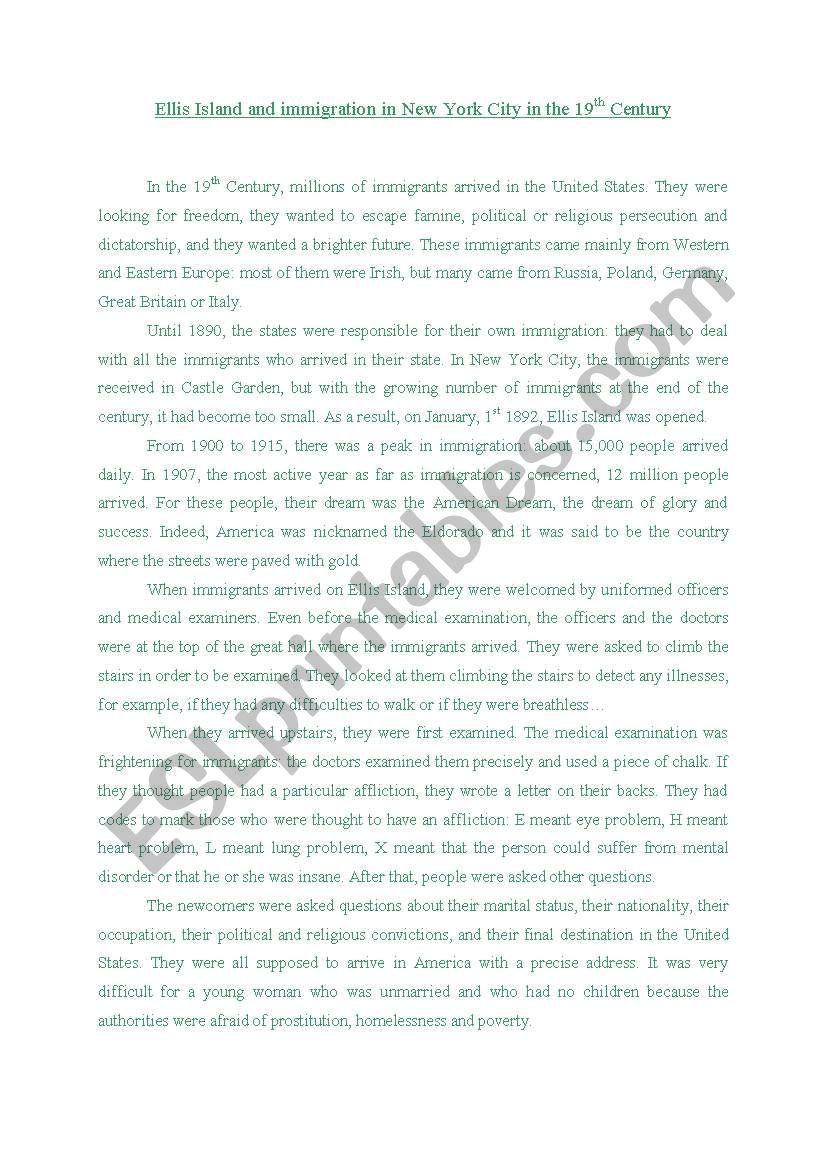 Story of Ellis Island worksheet