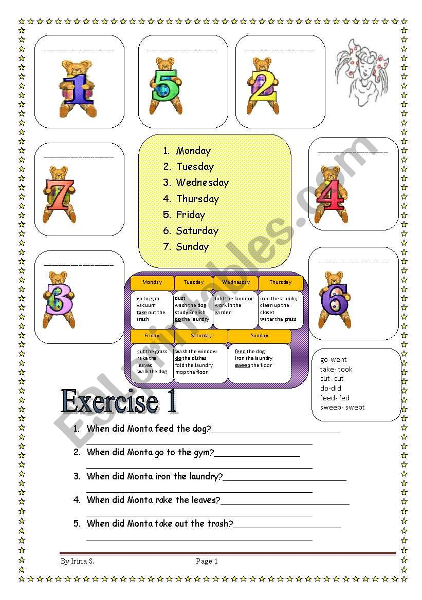 3 pages/6 exercises DAYS OF THE WEEK+CHORES